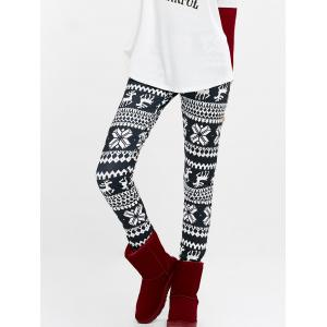 Elk Snowflake Print High Waist Leggings - Purplish Blue - S