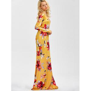 V Neck Floral Printed Maxi Dress -