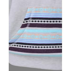 Arrow Print Kangaroo Pocket Hoodie - LIGHT GRAY L