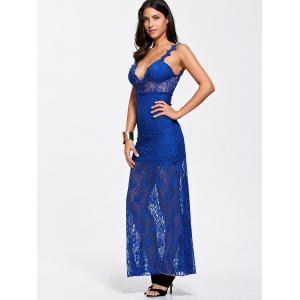 Maxi Lace Plunge Backless Sheer Prom Dress - ROYAL XL