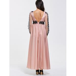 Backless A Line Prom Formal Dress with Sleeves - PINK XL