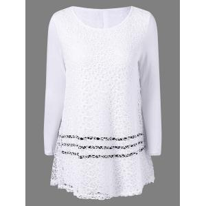 Scoop Neck Lace Panel Blouse