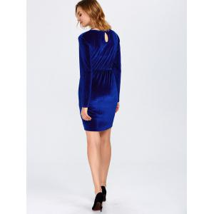 Long Sleeve Velvet Cutout Dress - BLUE XL