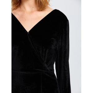 Backless Bell Sleeve Plunge  Dress - BLACK 2XL