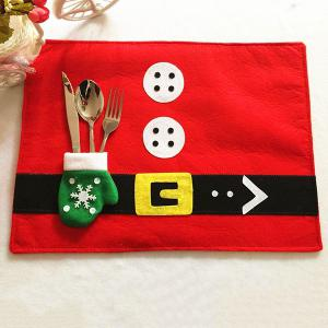Home Decor Christmas Supplies Cloth Pad with Knife and Fork Bag Table Mat - Red