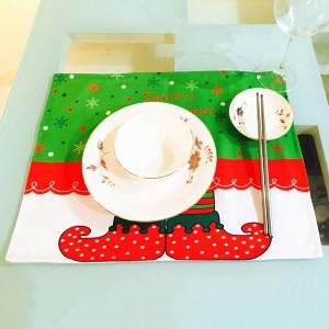 Home Decor Christmas Cloth Pad Elves Printing Table Mat - Red And Green - Pattern D