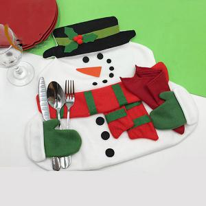 Home Decor Christmas Cloth Pad Snowman Double Table Mat - Colormix - Pattern D
