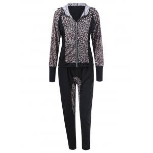 Athletic Pants With Leopard Zipper Hoodie - Black - L