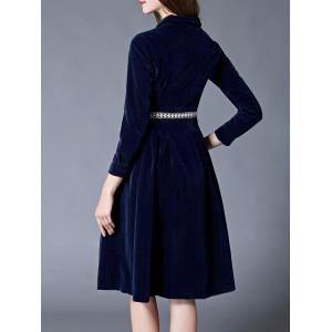 Fit and Flare Velvet Dress With Belt -