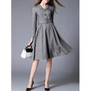 Lapel Fit and Flare Work Dress With Belt