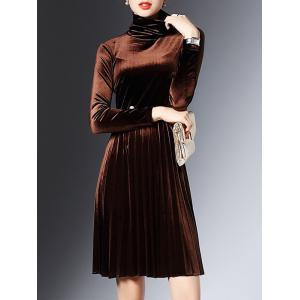 High Neck Long Sleeve Velvet Smock Dress - COFFEE XL