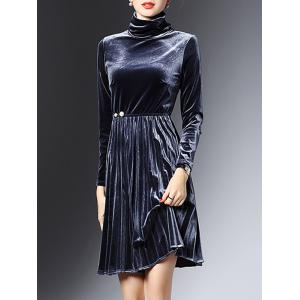 High Neck Long Sleeve Velvet Smock Dress - Purplish Blue - S