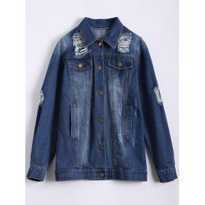 Single Breasted Ripped Denim Jacket - DEEP BLUE 2XL