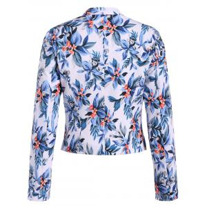 Short Floral Open Front Crop Blazer -