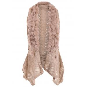 Open Front Faux Fur Embellished Sleeveless Cardigan
