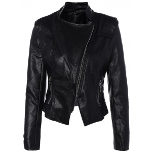 Inclined Zipper PU Leather Biker Jacket