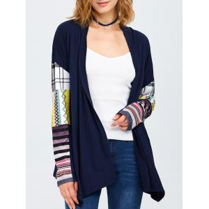 Collarless Tribal Print Duster Coat - Purplish Blue - S