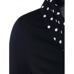 Polka Dot Trim Asymmetrical T-Shirt - BLACK XL