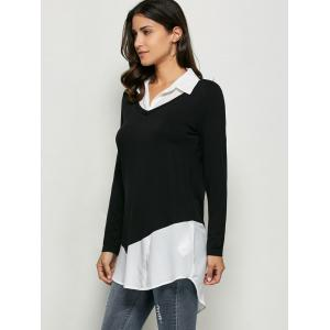 Patchwork High Low Hem Blouse - WHITE/BLACK XL