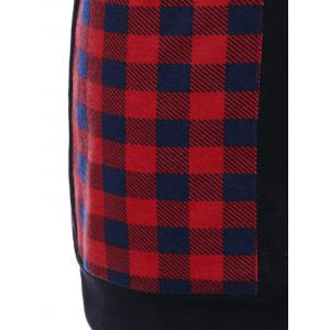 Casual Cowl Neck Plaid Trim Dress with Pockets - RED WITH BLACK M