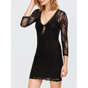 Sheer Bodycon Plunging Lace Tight Club Dresses