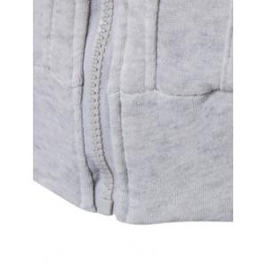 Zipper Embellished Faux Twinset Hoodie - LIGHT GRAY 2XL