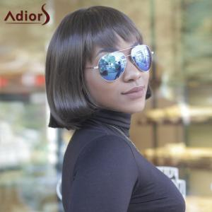 Vogue Medium Straight Side Bang Capless Brown Mixed Synthetic Wig For Women -