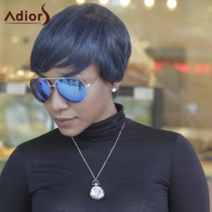 Short Pixie Cut Capless Straight Inclined Bang Synthetic Wig -