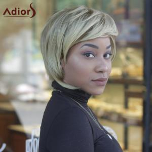 Fluffy Straight Mixed Color Synthetic Short Side Bang Capless Wig - COLORMIX