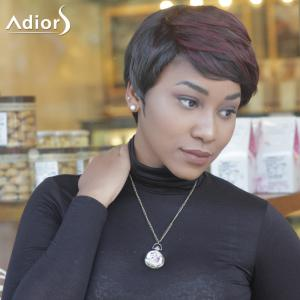 Short Slightly Curled Double Color Neat Bang Synthetic Wig - COLORMIX