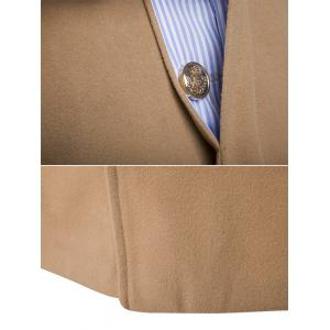 Covered Button Back Vent Wool Blend Coat - CAMEL 2XL
