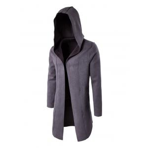 Plain Hooded Open Front Coat