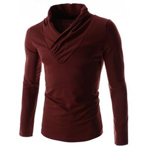 Ruched Collar Long Sleeve Plain T-Shirt - Burgundy - Xl