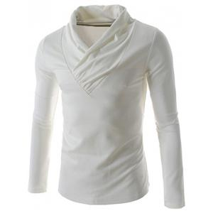 Ruched Collar Long Sleeve Plain T-Shirt
