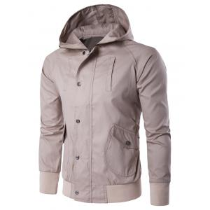 Multi Pocket Snap Front Zip Up Hooded Jacket