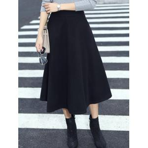 Wool Blend Midi A Line Skirt With Pocket