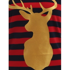 Stripe Christmas Reindeer Tee - BLUE AND RED XL