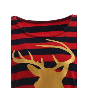 Stripe Christmas Reindeer Tee - BLUE/RED S