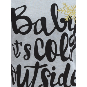 Its Cold Outside Christmas Tee - GRAY AND RED 3XL