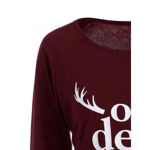 Christmas Graphic T-Shirt - WINE RED XL