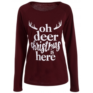 Christmas Graphic T-Shirt - Wine Red - S