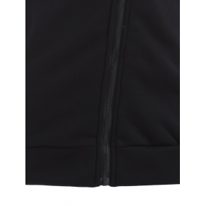 Inclined Cotton Zip Up Hoodie - BLACK L