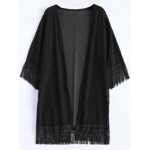 Chiffon Fringed Summer Cardigan Kimono Cover Up - Black - One Size
