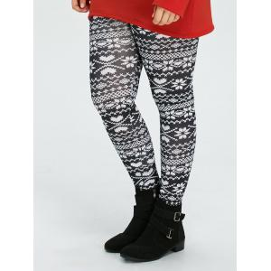 Plus Size Christmas Snowflake Printed Leggings - Black - 4xl