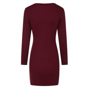 Mini Ribbed Long Sleeve Knit Dress - WINE RED XL