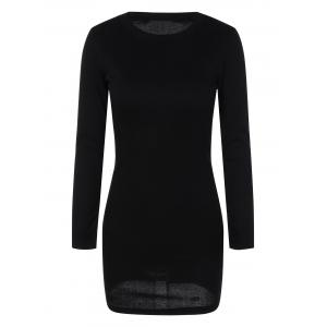 Mini Ribbed Long Sleeve Knit Dress - Black - M