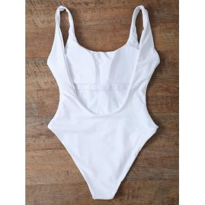 High Cut Backless Unlined One Piece Swimwear - WHITE L