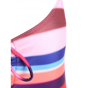 Criss Cross Plunging Colorful One Piece Swimwear -