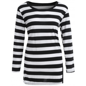 Drop Shoulder Striped T-Shirt with Split