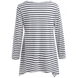 Asymmetric Hem Striped T-Shirt -